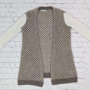 hinge Sweaters - hinge Angora Wool Tan White Open Cardigan